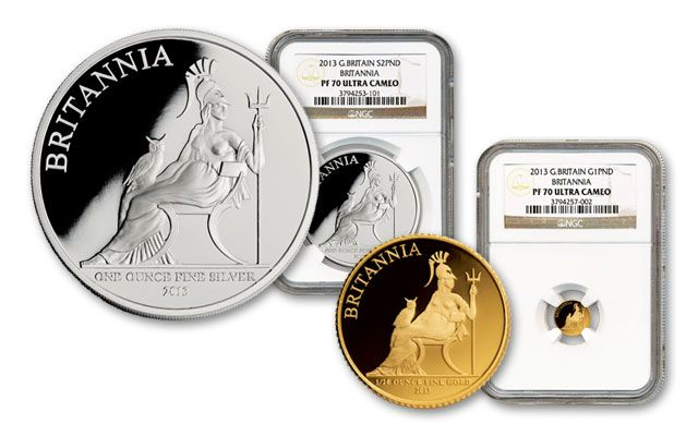 2013 1-oz Silver and 1/20-oz Gold Britannia NGC PF70 2pc