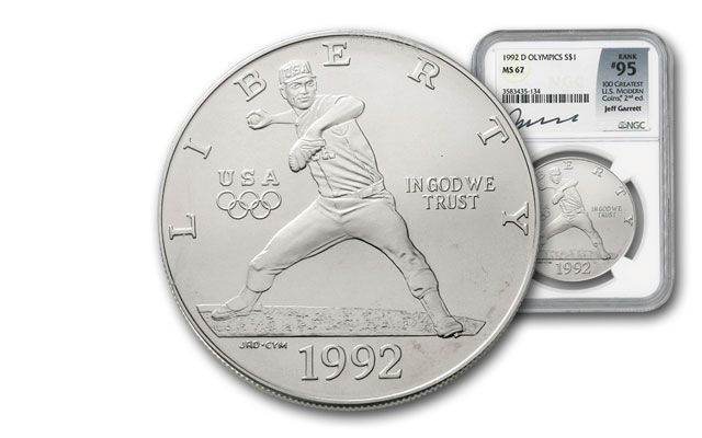 1992-D 1 Dollar Silver Olympic Baseball NGC MS67 Garrett Signed - 100 Greatest Coins