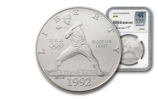 1992-D 1 Dollar Silver Olympic Baseball NGC MS68 Garrett Signed - 100 Greatest Coins