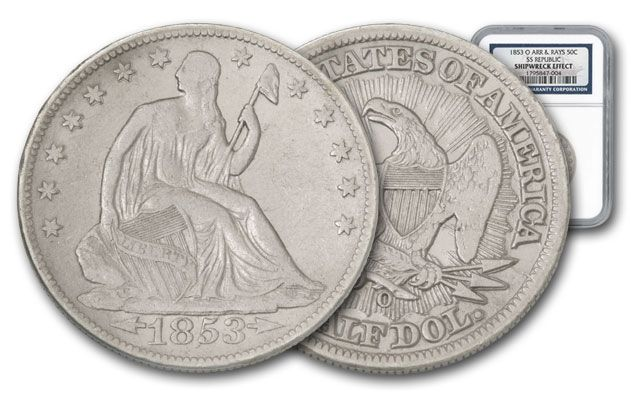 1853-O Seated Liberty Silver Half Dollar SS Republic NGC Shipwreck