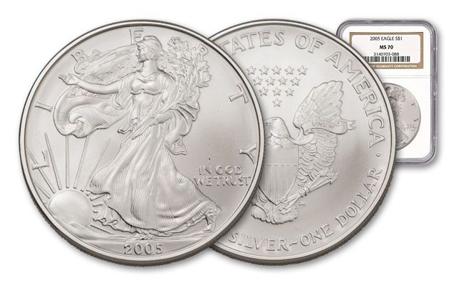 2005 1 Dollar Silver Eagle NGC/PCGS MS70