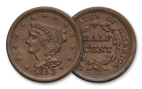 1840-1857 Half Cent Braided Hair BU