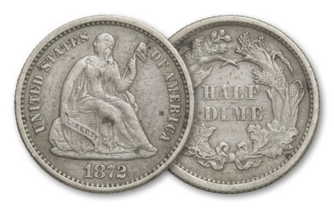 1837-1873 Half Dime Seated Liberty VF
