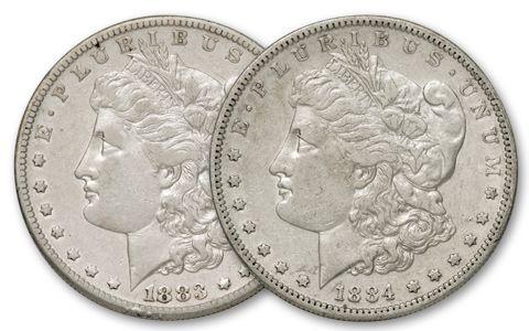1883-1884-S Morgan Silver Dollar XF 2pc Set
