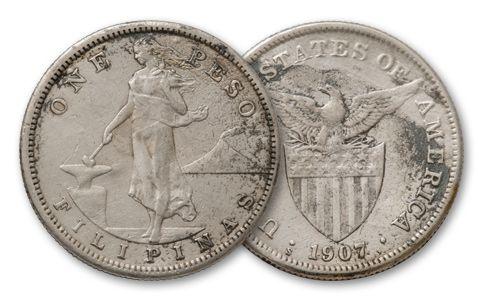 1907-1912 Philippines Silver Peso  Manila Bay