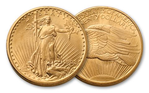 1908-P 20 Dollar Saint-Gaudens No Motto BU