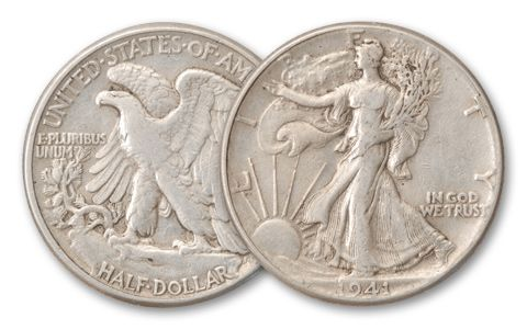 1916-1947 Half Dollar Walking Liberty XF Half Roll