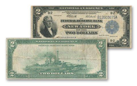 1918 2 Dollar Federal Reserve Bank Note Battleship Fine