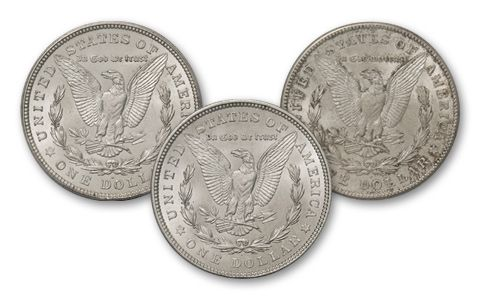 1921-PDS Morgan Silver Dollar BU 3pc