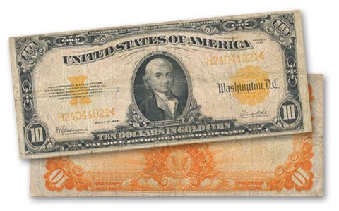1922 10 Dollar Gold Certificate Note Fine