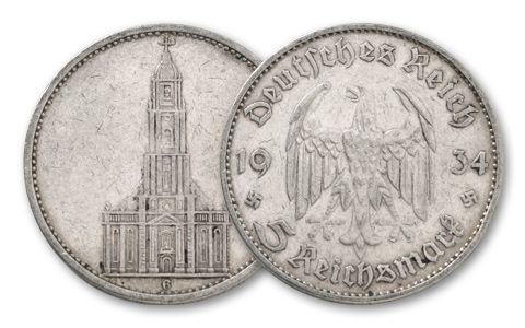 1934-1935 Germany 5 Reichsmark Potsdam Church