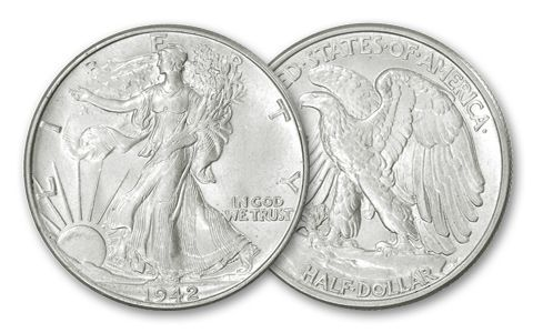 1941-1945 50 Cent Walking Liberty BU