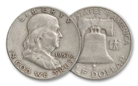 1957 Half Dollar Franklin XF