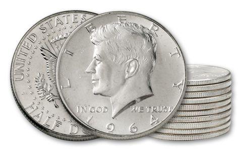 1964 50 Cent Kennedy BU - 10 Pieces (Half Roll)