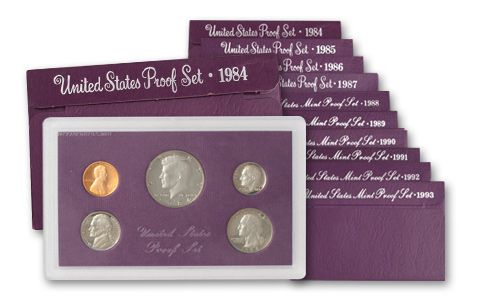 1984-1993 United States Proof Set Purple Box Collection - 10 Sets