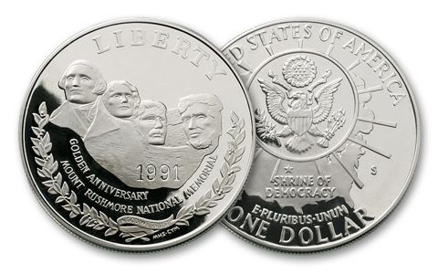 1991-S 1 Dollar Silver Mount Rushmore Proof