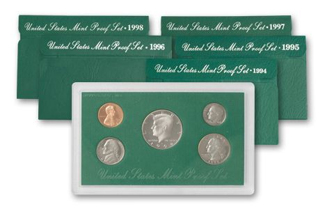 1994-1998 Green Box Proof Set Collection