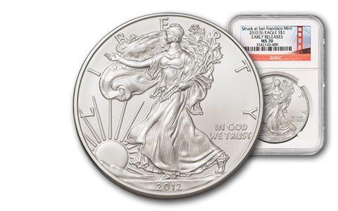 2012-S 1 Dollar 1-oz Silver Eagle MS70 Early Release Bridge