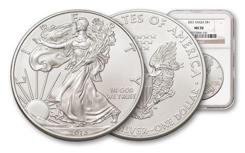 2013 1 Dollar 1-oz Silver Eagle NGC MS70