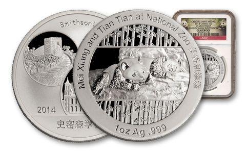 2014 1-oz Silver Smithsonian Panda NGC Gem Proof