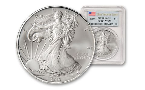 2010 1 Dollar 1-oz Silver Eagle PCGS MS70 - 25th Anniv.