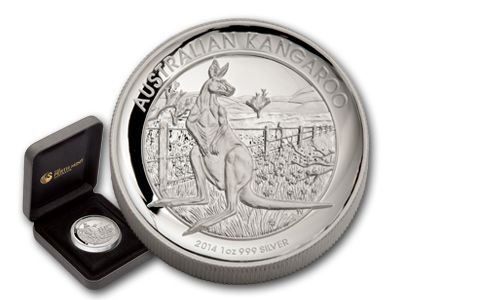 2014 Australia 1-oz Silver High Relief Kangaroo Proof