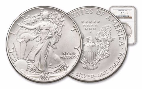 1987 1 Dollar 1-oz Silver Eagle NGC/PCGS MS69