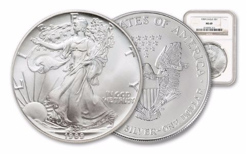 1989 1 Dollar 1-oz Silver Eagle NGC/PCGS MS69
