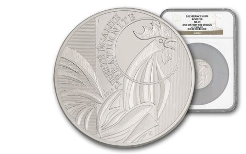 2015 France 100 Euro Silver Rooster First Struck MS69