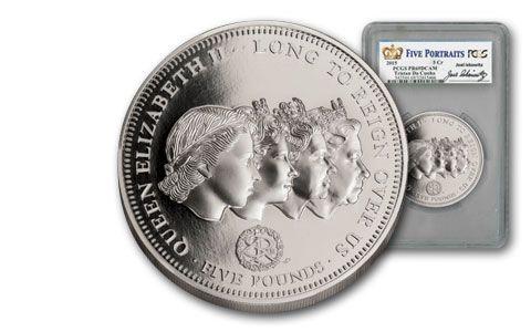 2015 Tristan Da Cunha 5-oz Silver 5 Portraits Queen Elizabeth II PCGS PR69DCAM