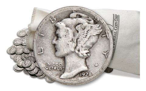 1916-1945 Silver Mercury Dimes VG-VF 5 Pound Bag