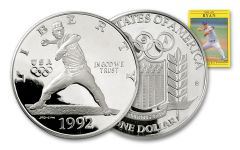 1992-S 1 Dollar 1-oz Nolan Ryan Silver Dollar Proof With Card