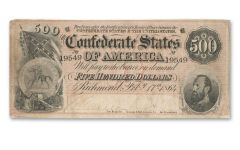 1864 500 Dollar Stonewall Jackson Confederate Note Fine
