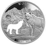 2020 Barbados $5 1-oz Silver Shapes of America Wolf High Relief Proof-Like