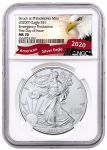 2020(P) $1 1-oz Silver Eagle Struck At Philadelphia Emergency Production NGC MS70 First Day of Issue w/Eagle Label