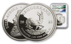 2021 1oz Silver Krugerrand NGC PF70UC FDI (Springbok label) / Black Core