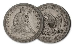 1853–1865 25 Cents Seated Liberty VG–VF