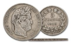 1830–1848 France Silver 5 Francs Louis Philippe F