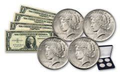 1922–1925 Silver Peace Dollar BU & 1935 $1 Silver Certificates 8-pc Set