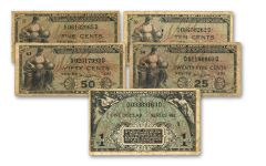 1951–1954 5 Cents–$1 Series 481 MPC 5-Note Set F-VF