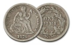 1875-1877-CC 10 Cent Seated Liberty Fine