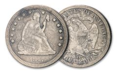 1876-1877-CC 25 Cent Seated Liberty Fine