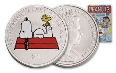 2015 1 Dollar 65th Anniversary Peanuts Snoopy BU
