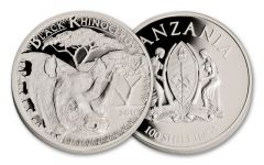 2016 Tanzania Serengeti Black Rhino Silver Plated Proof-Like