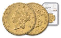 1858-S 20 Dollar Liberty NGC AU50 Rive D'OR
