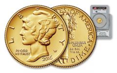 2016-W 1/10-oz Gold Centennial Mercury Dime Mercanti Signed PCGS SP70 First Day of Issue