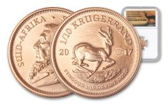 2017 South Africa 1/10-oz Gold Krugerrand NGC Gem Uncirculated with 50th Anniversary Mintmark