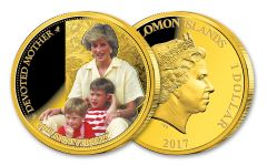 2017 Solomon Islands $1 Princess Diana Devoted Mother 20th Anniversary Gold Plated Proof