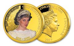 2017 Solomon Islands $1 Princess Diana People's Princess 20th Anniversary Gold Plated Proof