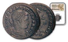 AD 307–337 Ancient Roman Bronze Nummus of Constantine The Great Sol Invictus NGC AU